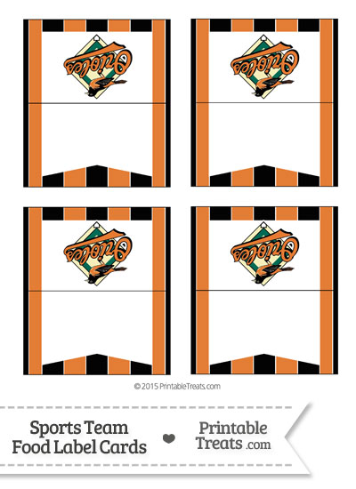 Orioles Food Label Buffet Cards from PrintableTreats.com