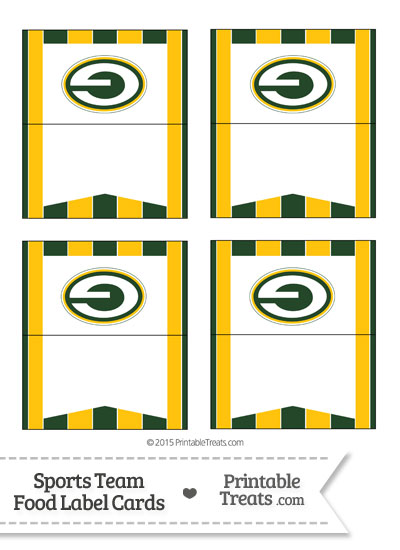 Packers Food Label Buffet Cards from PrintableTreats.com