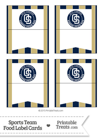 Padres Food Label Buffet Cards from PrintableTreats.com