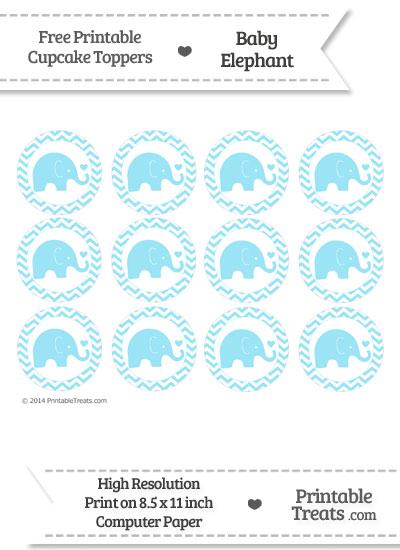 Pastel Aqua Blue Baby Elephant Chevron Cupcake Toppers from PrintableTreats.com