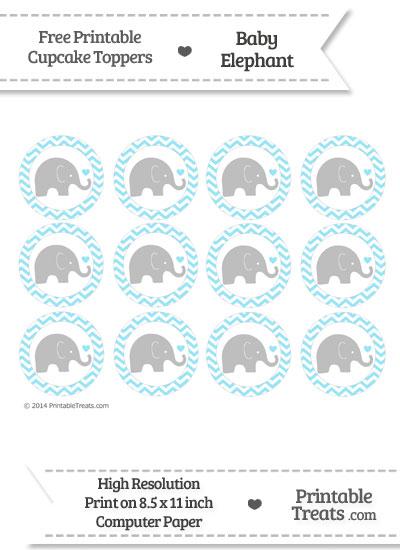 Pastel Aqua Blue Chevron Baby Elephant Cupcake Toppers from PrintableTreats.com
