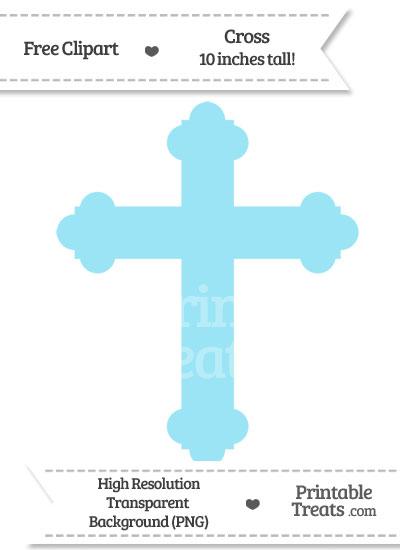 Pastel Aqua Blue Cross Clipart from PrintableTreats.com