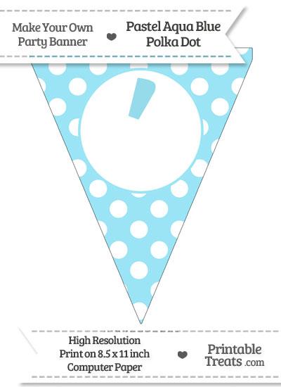 Pastel Aqua Blue Polka Dot Pennant Flag with Apostrophe from PrintableTreats.com