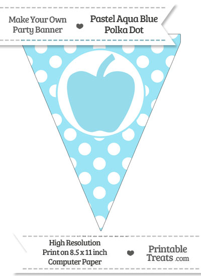 Pastel Aqua Blue Polka Dot Pennant Flag with Apple from PrintableTreats.com