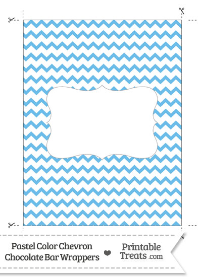 Pastel Blue Chevron Chocolate Bar Wrappers from PrintableTreats.com
