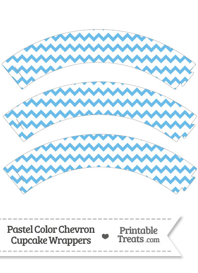 Pastel Blue Chevron Cupcake Wrappers from PrintableTreats.com
