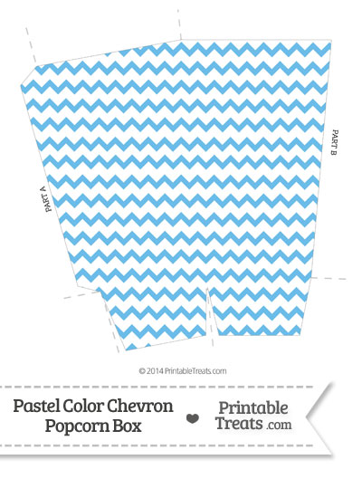 Pastel Blue Chevron Popcorn Box from PrintableTreats.com