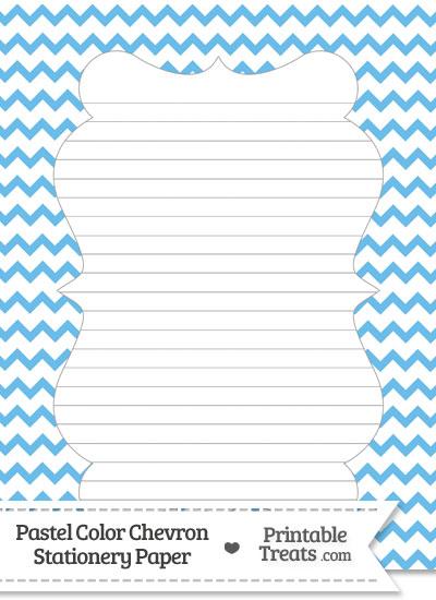 Pastel Blue Chevron Stationery Paper from PrintableTreats.com
