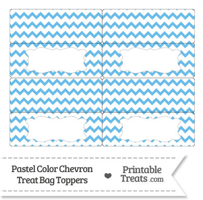 Pastel Blue Chevron Treat Bag Toppers from PrintableTreats.com