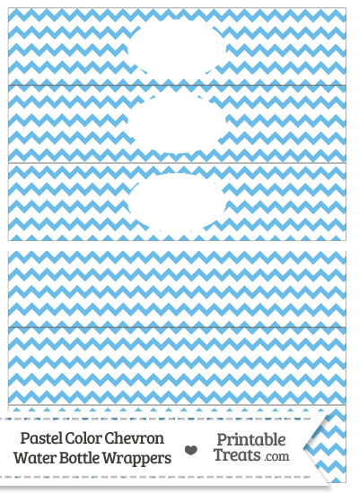 Pastel Blue Chevron Water Bottle Wrappers from PrintableTreats.com