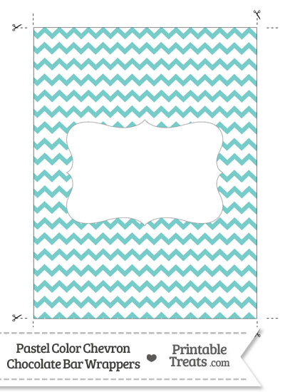 Pastel Blue Green Chevron Chocolate Bar Wrappers from PrintableTreats.com