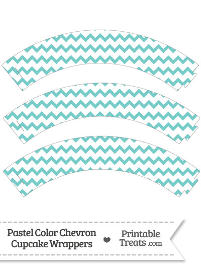Pastel Blue Green Chevron Cupcake Wrappers from PrintableTreats.com
