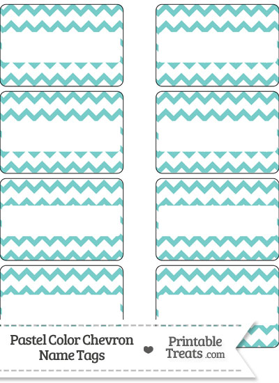 Pastel Blue Green Chevron Name Tags from PrintableTreats.com