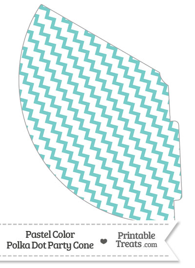 Pastel Blue Green Chevron Party Cone from PrintableTreats.com