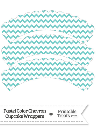 Pastel Blue Green Chevron Scalloped Cupcake Wrappers from PrintableTreats.com