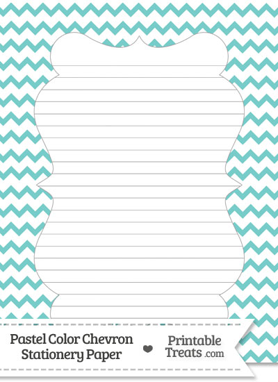 Pastel Blue Green Chevron Stationery Paper from PrintableTreats.com