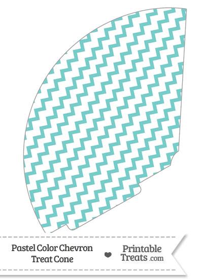 Pastel Blue Green Chevron Treat Cone from PrintableTreats.com