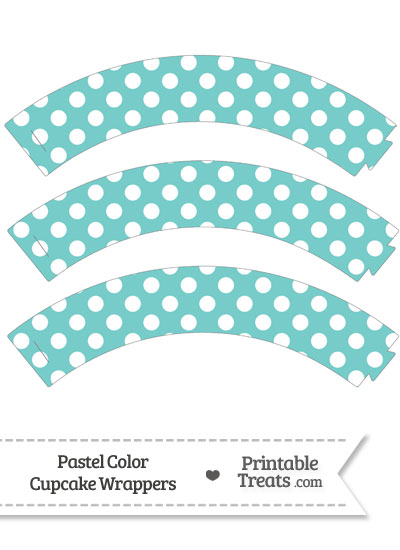 Pastel Blue Green Polka Dot Cupcake Wrappers from PrintableTreats.com