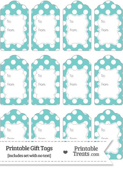 Pastel Blue Green Polka Dot Gift Tags from PrintableTreats.com