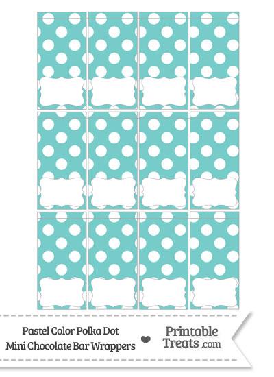 Pastel Blue Green Polka Dot Mini Chocolate Bar Wrappers from PrintableTreats.com