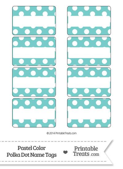 Pastel Blue Green Polka Dot Name Tags from PrintableTreats.com