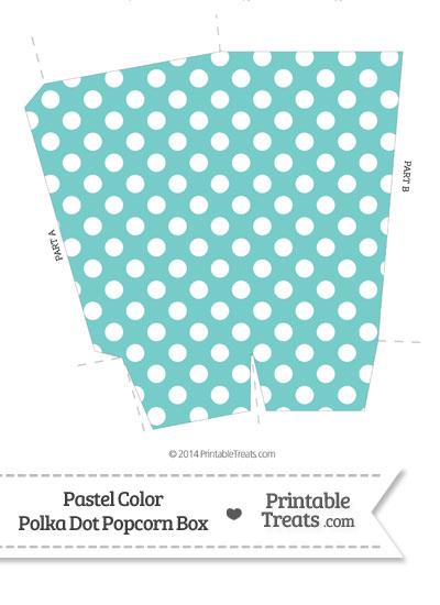 Pastel Blue Green Polka Dot Popcorn Box from PrintableTreats.com