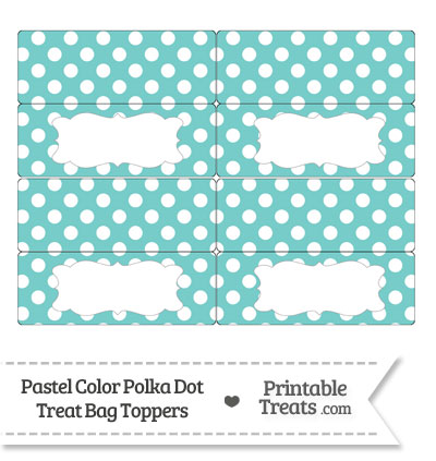 Pastel Blue Green Polka Dot Treat Bag Toppers from PrintableTreats.com