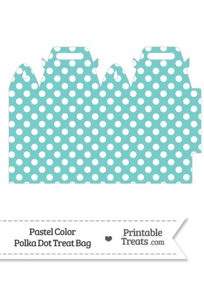 Pastel Blue Green Polka Dot Treat Bag from PrintableTreats.com