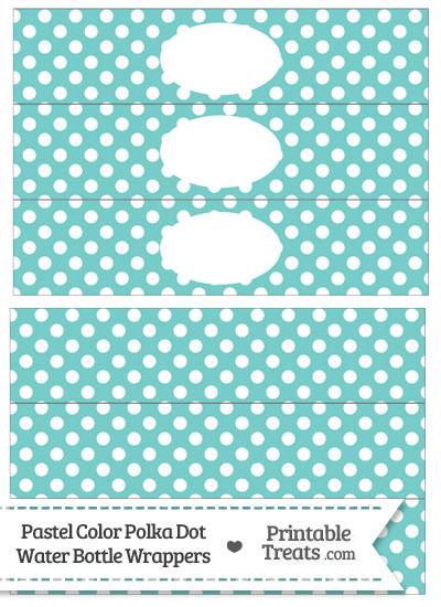Pastel Blue Green Polka Dot Water Bottle Wrappers from PrintableTreats.com