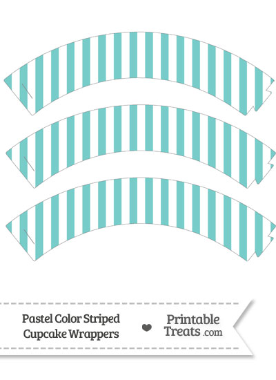 Pastel Blue Green Striped Cupcake Wrappers from PrintableTreats.com