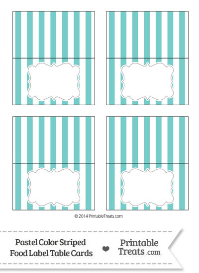Pastel Blue Green Striped Food Labels from PrintableTreats.com