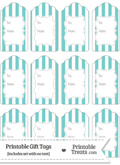 Pastel Blue Green Striped Gift Tags from PrintableTreats.com