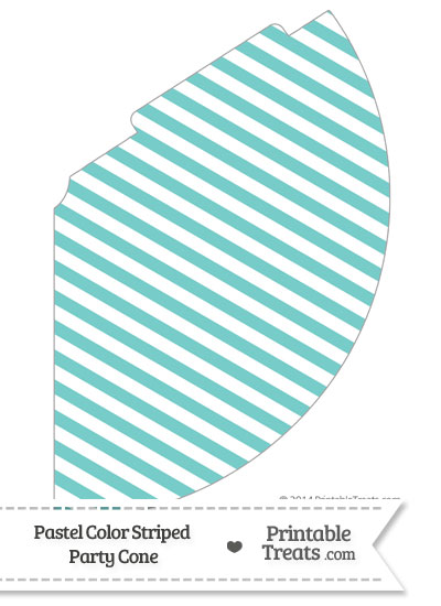 Pastel Blue Green Striped Party Cone from PrintableTreats.com