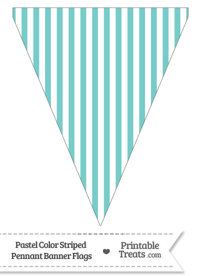Pastel Blue Green Striped Pennant Banner Flag from PrintableTreats.com