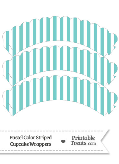 Pastel Blue Green Striped Scalloped Cupcake Wrappers from PrintableTreats.com