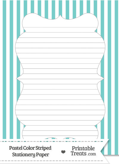 Pastel Blue Green Striped Stationery Paper from PrintableTreats.com