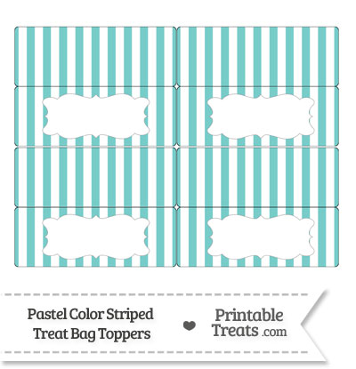 Pastel Blue Green Striped Treat Bag Toppers from PrintableTreats.com