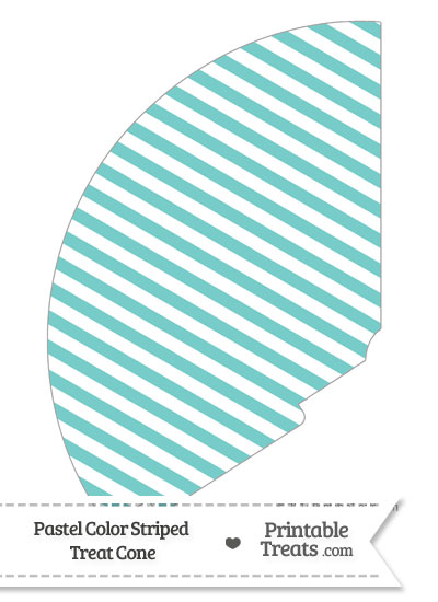 Pastel Blue Green Striped Treat Cone from PrintableTreats.com