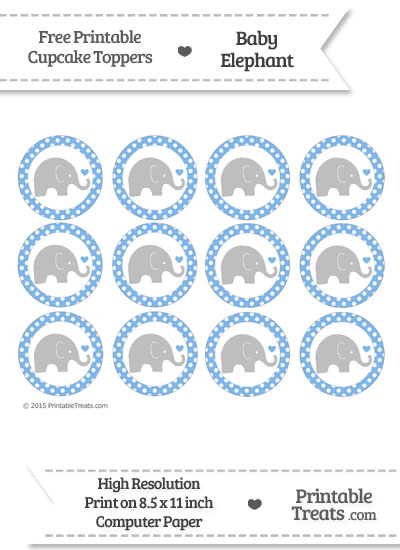 Pastel Blue Polka Dot Baby Elephant Cupcake Toppers from PrintableTreats.com