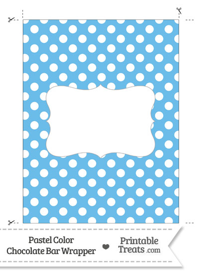 Pastel Blue Polka Dot Chocolate Bar Wrappers from PrintableTreats.com