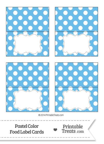 Pastel Blue Polka Dot Food Labels from PrintableTreats.com