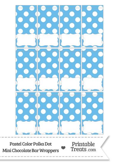 Pastel Blue Polka Dot Mini Chocolate Bar Wrappers from PrintableTreats.com