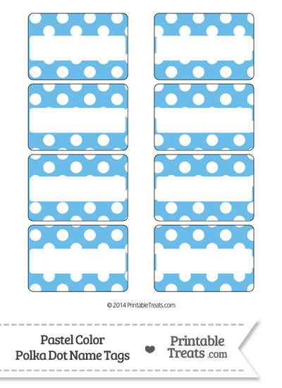 Pastel Blue Polka Dot Name Tags from PrintableTreats.com