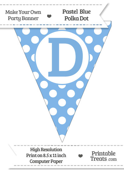 Pastel Blue Polka Dot Pennant Flag Capital Letter D from PrintableTreats.com