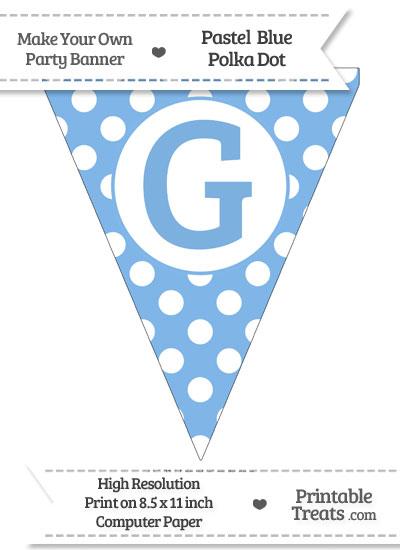 Pastel Blue Polka Dot Pennant Flag Capital Letter G from PrintableTreats.com