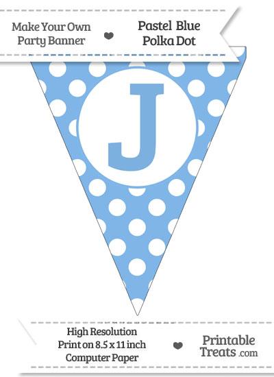 Pastel Blue Polka Dot Pennant Flag Capital Letter J from PrintableTreats.com