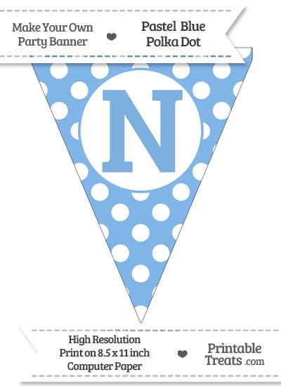 Pastel Blue Polka Dot Pennant Flag Capital Letter N from PrintableTreats.com