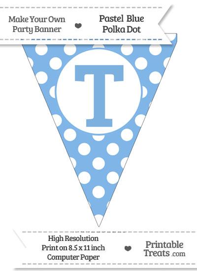 Pastel Blue Polka Dot Pennant Flag Capital Letter T from PrintableTreats.com