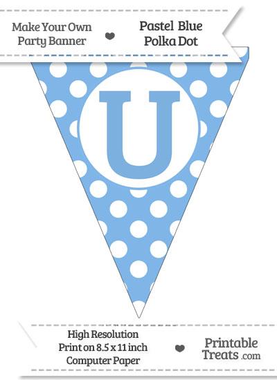 Pastel Blue Polka Dot Pennant Flag Capital Letter U from PrintableTreats.com