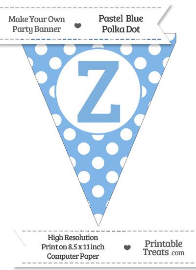 Pastel Blue Polka Dot Pennant Flag Capital Letter Z from PrintableTreats.com